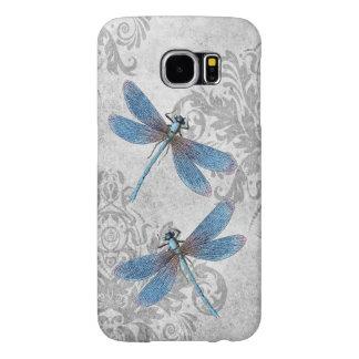 Vintage Grunge Damask Dragonflies Samsung Galaxy S6 Cases