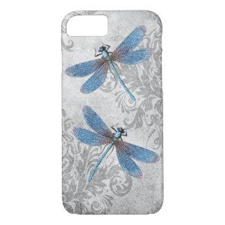 Vintage Grunge Damask Dragonflies iPhone 8/7 Case