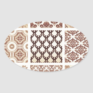 Vintage,grunge,damask pattern collage, victorian, oval sticker