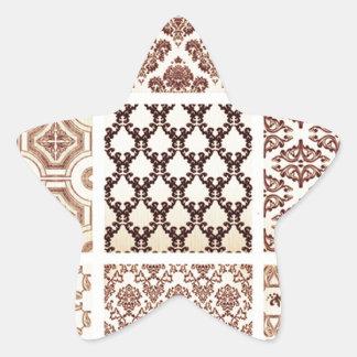Vintage,grunge,damask pattern collage, victorian, star sticker