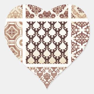 Vintage,grunge,damask pattern collage, victorian, heart stickers