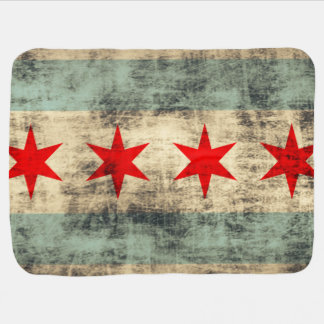Vintage Grunge Flag of Chicago Baby Blanket