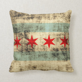 Vintage Grunge Flag of Chicago Cushion