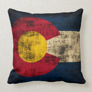 Vintage Grunge Flag of Colorado Cushion