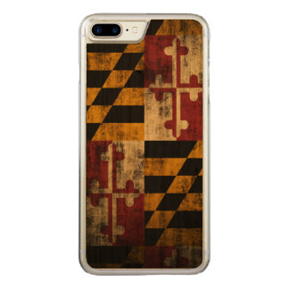 Vintage Grunge Flag of Maryland Carved iPhone 8 Plus/7 Plus Case
