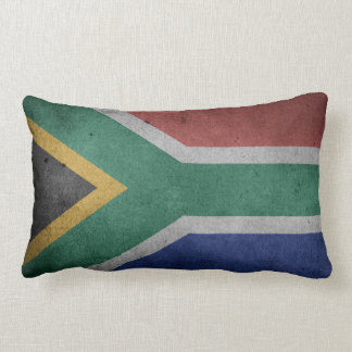 Vintage Grunge flag of South Africa Lumbar Cushion
