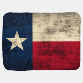 Vintage Grunge Flag of Texas Swaddle Blankets