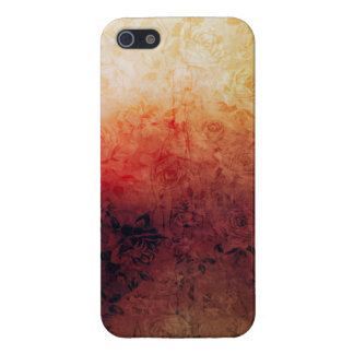 Vintage Grunge Floral Fire Red Faded Roses Artsy Case For iPhone 5