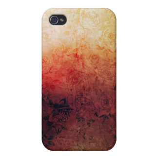 Vintage Grunge Floral Fire Red Faded Roses Artsy Cases For iPhone 4