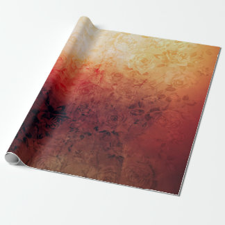 Vintage Grunge Floral Fire Red Faded Roses Artsy Wrapping Paper