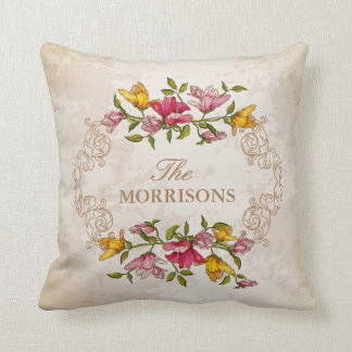 Vintage Grunge Floral Wreath Monogram Family Name Cushion