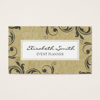 Vintage Grunge Flourishes, Beige, Two-sided Business Card