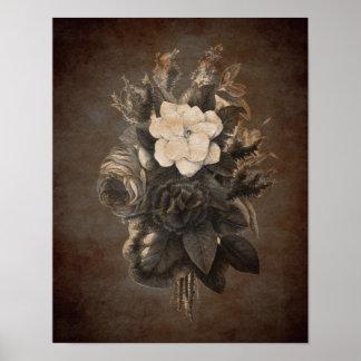 Vintage Grunge Flowers Premium Poster Print