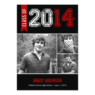 Vintage Grunge Graduation Invitation - Red