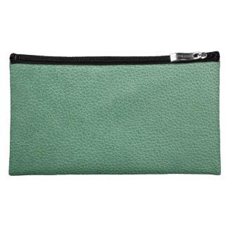 Vintage Grunge Green Leather Pattern Makeup Bags