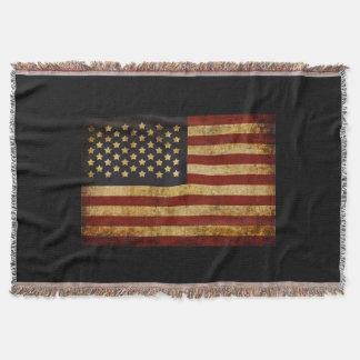 Vintage Grunge Patriotic USA American Flag Throw Blanket