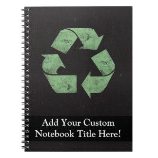Vintage Grunge Recycle Symbol Spiral Notebook