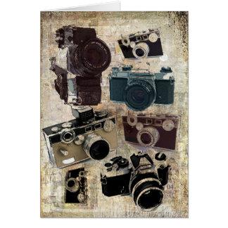 Vintage Grunge Retro Cameras Fashion Greeting Card
