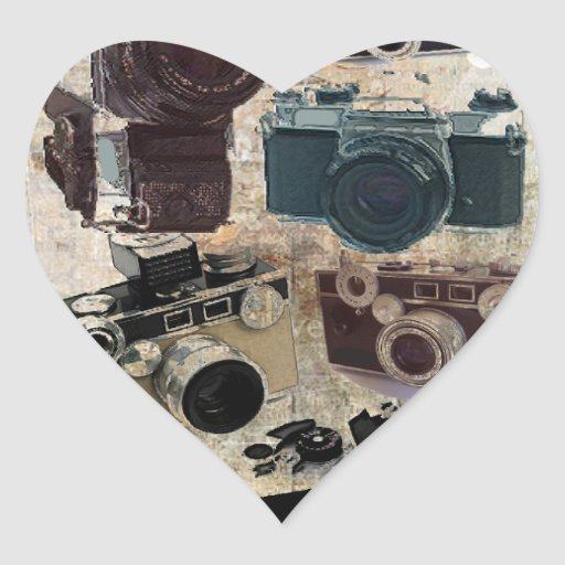 Vintage Grunge Retro Cameras Fashion Heart Stickers  Zazzle