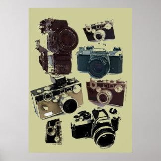 Vintage Grunge Retro Cameras Pattern Poster