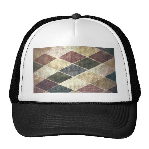 Vintage grunge retro checkers twill textile chic hat