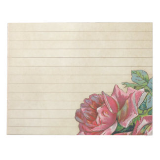 Vintage Grunge Rose With Lines Notepad