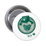 Vintage Grunge St Patrick's Day Pug Tees 6 Cm Round Badge
