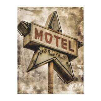 Vintage Grunge Star Motel Sign Gallery Wrapped Canvas