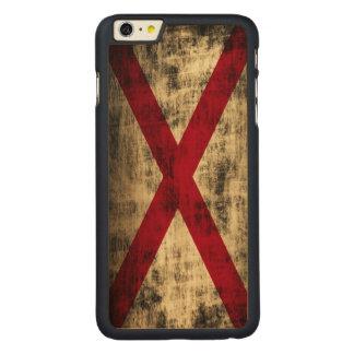 Vintage Grunge State Flag of Alabama Carved Maple iPhone 6 Plus Case