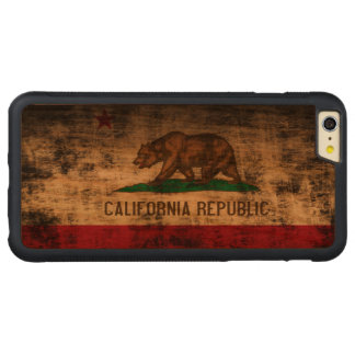 Vintage Grunge State Flag of California Republic Carved Cherry iPhone 6 Plus Bumper Case