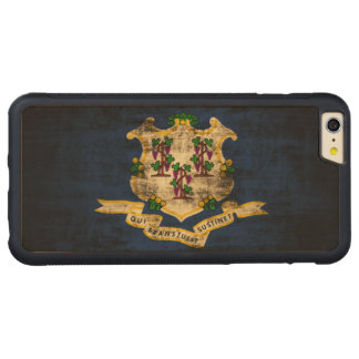 Vintage Grunge State Flag of Connecticut Carved® Maple iPhone 6 Plus Bumper Case