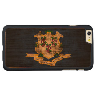Vintage Grunge State Flag of Connecticut Carved® Cherry iPhone 6 Plus Case