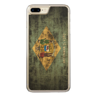 Vintage Grunge State Flag of Delaware Carved iPhone 7 Plus Case