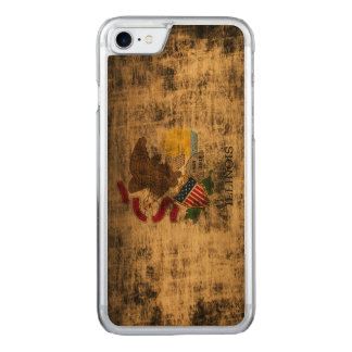 Vintage Grunge State Flag of Illinois Carved iPhone 8/7 Case