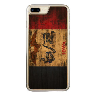 Vintage Grunge State Flag of Iowa Carved iPhone 8 Plus/7 Plus Case