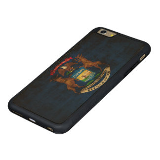 Vintage Grunge State Flag of Michigan Carved® Maple iPhone 6 Plus Bumper Case