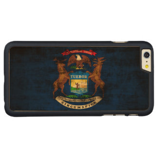 Vintage Grunge State Flag of Michigan Carved® Maple iPhone 6 Plus Case