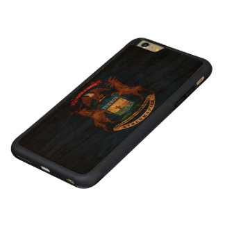 Vintage Grunge State Flag of Michigan Carved® Cherry iPhone 6 Plus Bumper