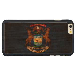 Vintage Grunge State Flag of Michigan Carved® Cherry iPhone 6 Plus Case