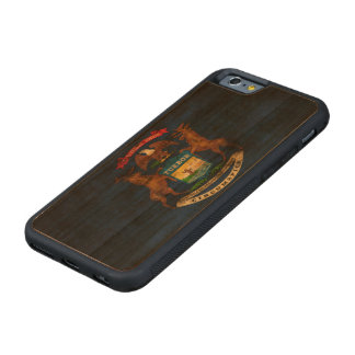 Vintage Grunge State Flag of Michigan Carved® Cherry iPhone 6 Bumper Case
