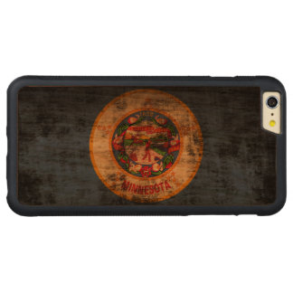 Vintage Grunge State Flag of Minnesota Carved® Cherry iPhone 6 Plus Bumper Case