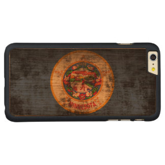 Vintage Grunge State Flag of Minnesota Carved® Cherry iPhone 6 Plus Case