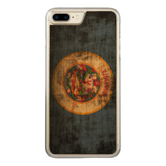 Vintage Grunge State Flag of Minnesota Carved iPhone 8 Plus/7 Plus Case