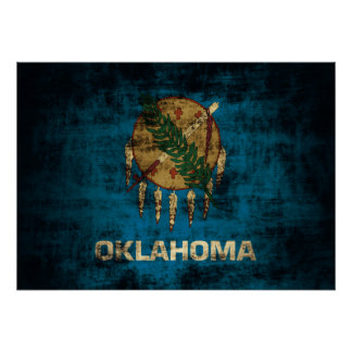 Vintage Grunge State Flag of Oklahoma Poster