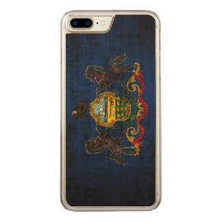 Vintage Grunge State Flag of Pennsylvania Carved iPhone 7 Plus Case