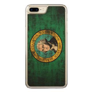 Vintage Grunge State Flag of Washington Carved iPhone 7 Plus Case