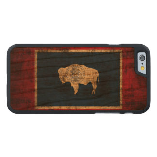 Vintage Grunge State Flag of Wyoming Carved Cherry iPhone 6 Case