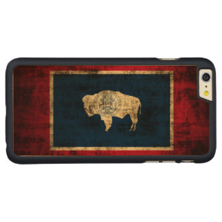 Vintage Grunge State Flag of Wyoming Carved Maple iPhone 6 Plus Case