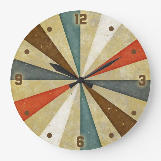 Vintage Grunge Sunburst Large Clock
