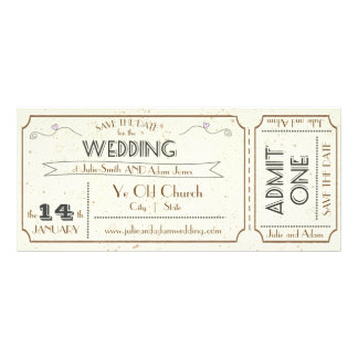 Vintage Grunge Ticket Save the Date Rack Card